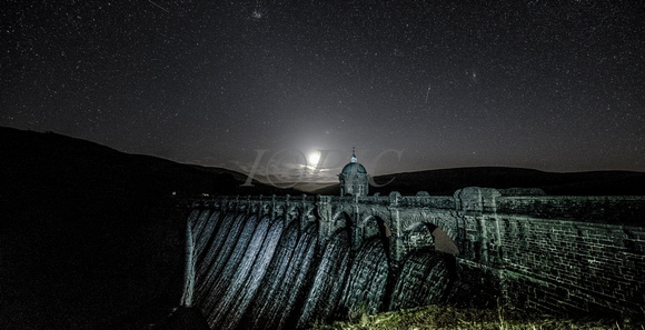 Moon over the Craig Goch Dam at the Elan Valley.
